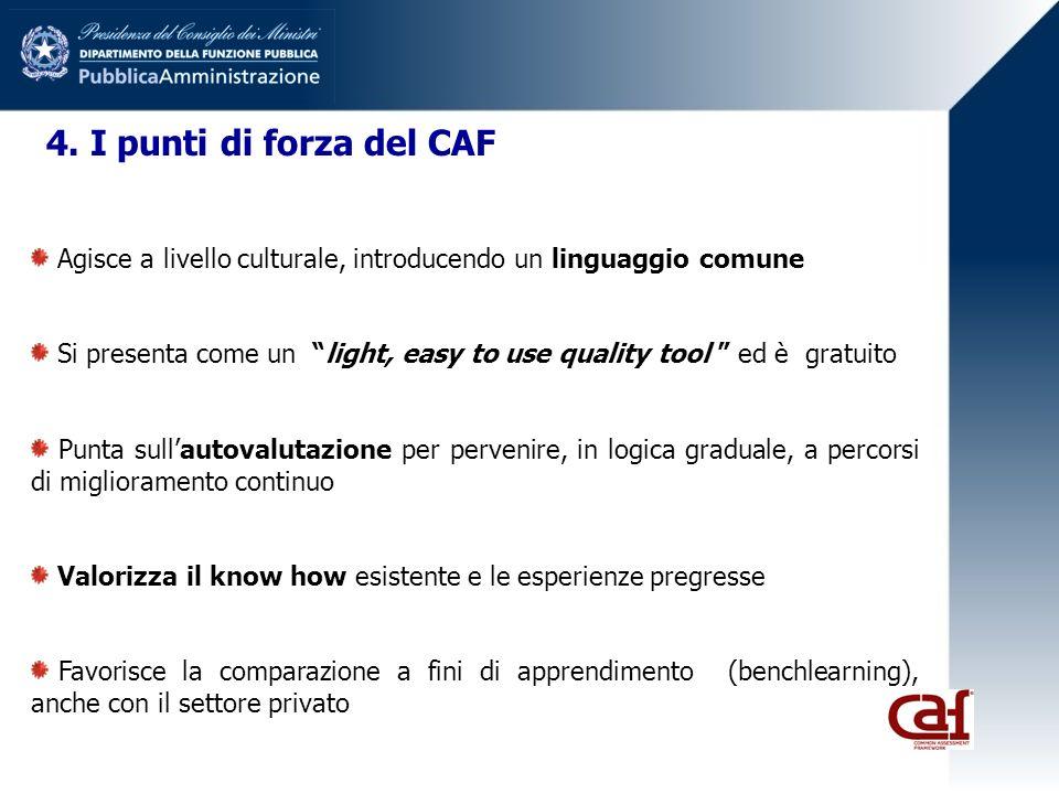 4. I punti di forza del CAF Agisce a livello culturale, introducendo un linguaggio comune Si presenta come un light, easy to use quality tool ed è gra
