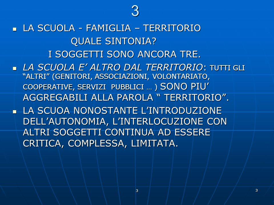 3 3 3 LA SCUOLA - FAMIGLIA – TERRITORIO LA SCUOLA - FAMIGLIA – TERRITORIO QUALE SINTONIA? QUALE SINTONIA? I SOGGETTI SONO ANCORA TRE. I SOGGETTI SONO