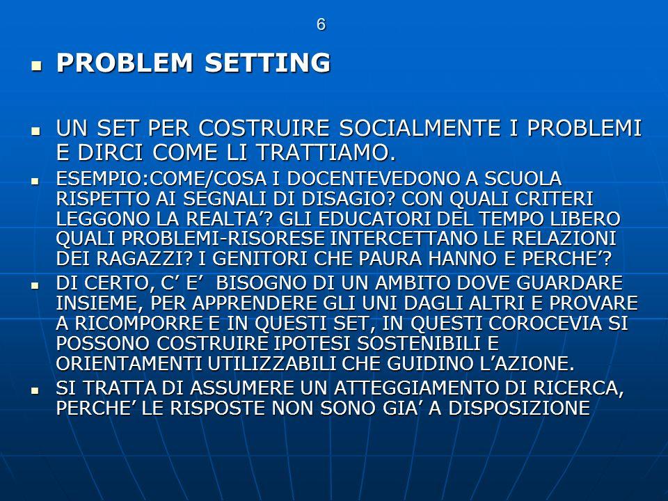 6 PROBLEM SETTING PROBLEM SETTING UN SET PER COSTRUIRE SOCIALMENTE I PROBLEMI E DIRCI COME LI TRATTIAMO. UN SET PER COSTRUIRE SOCIALMENTE I PROBLEMI E