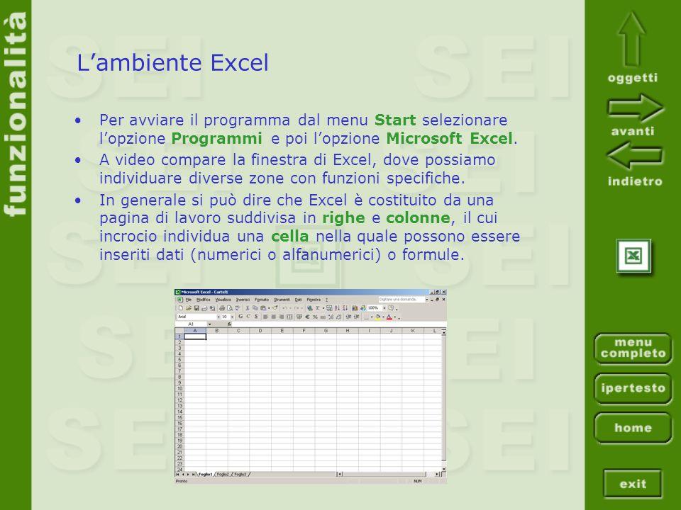 Lambiente Excel Per avviare il programma dal menu Start selezionare lopzione Programmi e poi lopzione Microsoft Excel. A video compare la finestra di