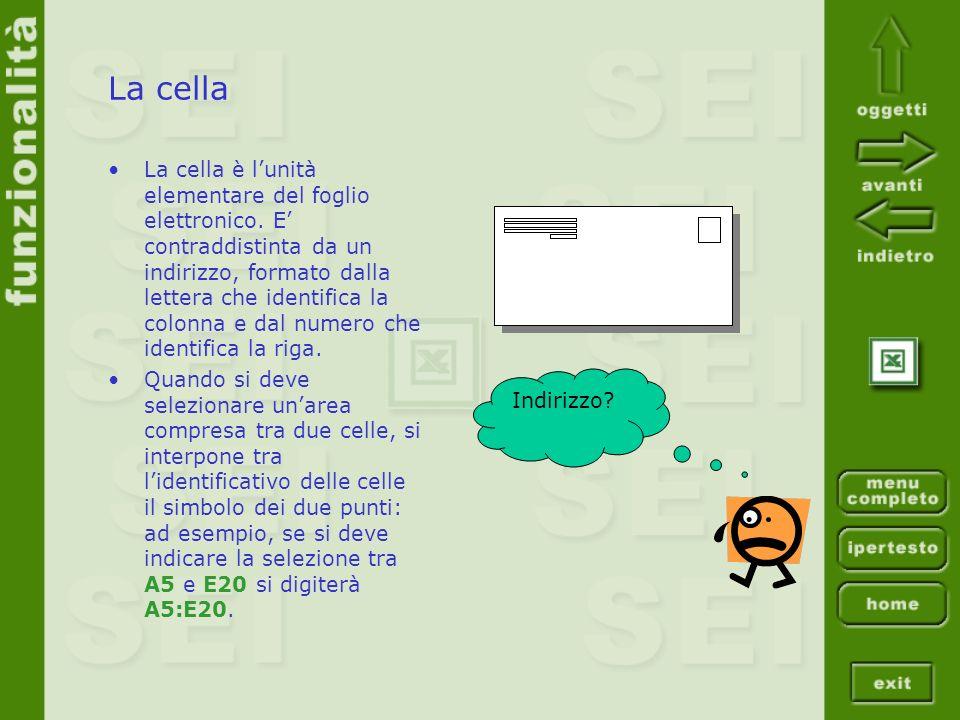 La cella La cella è lunità elementare del foglio elettronico. E contraddistinta da un indirizzo, formato dalla lettera che identifica la colonna e dal