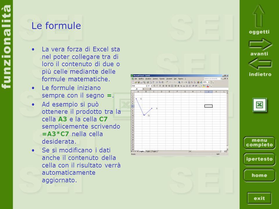 Le formule La vera forza di Excel sta nel poter collegare tra di loro il contenuto di due o più celle mediante delle formule matematiche. Le formule i