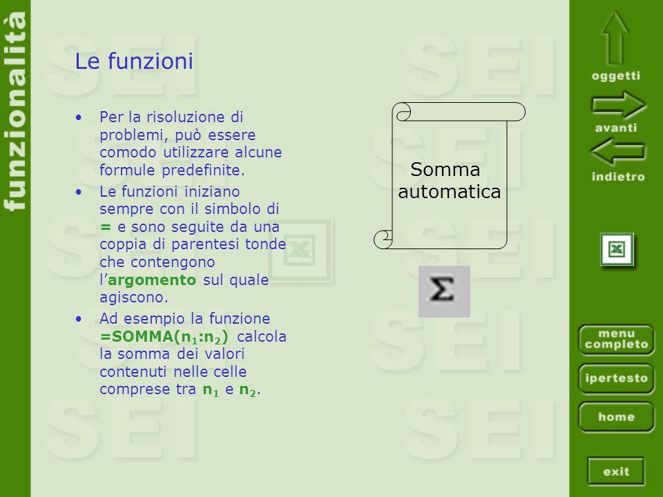 Le funzioni Per la risoluzione di problemi, può essere comodo utilizzare alcune formule predefinite. Le funzioni iniziano sempre con il simbolo di = e