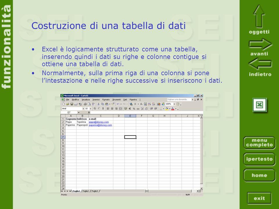 Costruzione di una tabella di dati Excel è logicamente strutturato come una tabella, inserendo quindi i dati su righe e colonne contigue si ottiene un