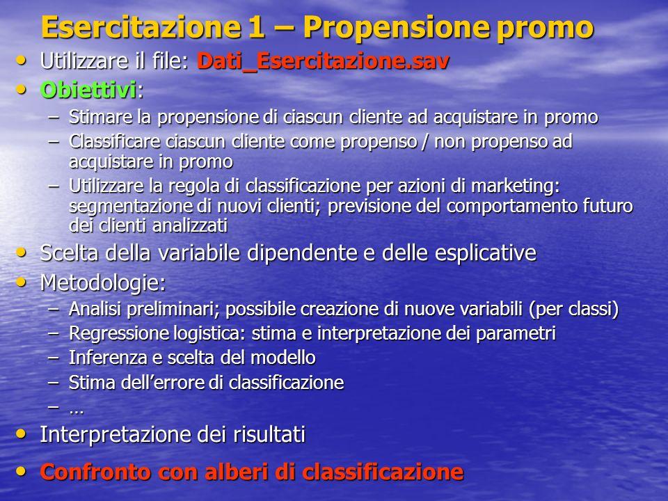Esercitazione 1 – Propensione promo Utilizzare il file: Dati_Esercitazione.sav Utilizzare il file: Dati_Esercitazione.sav Obiettivi: Obiettivi: –Stima
