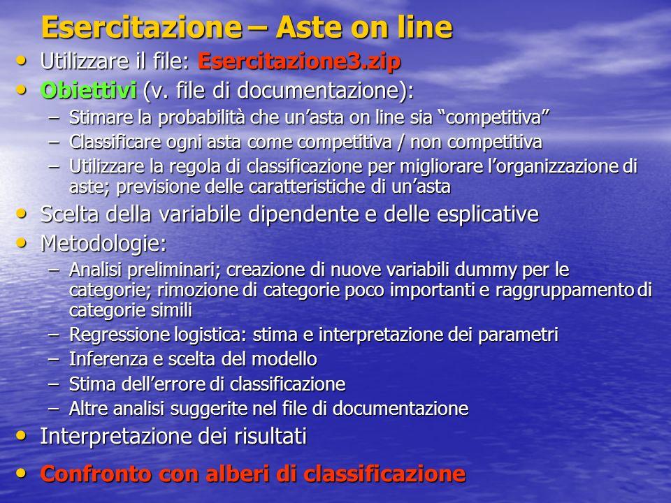 Esercitazione – Aste on line Utilizzare il file: Esercitazione3.zip Utilizzare il file: Esercitazione3.zip Obiettivi (v. file di documentazione): Obie