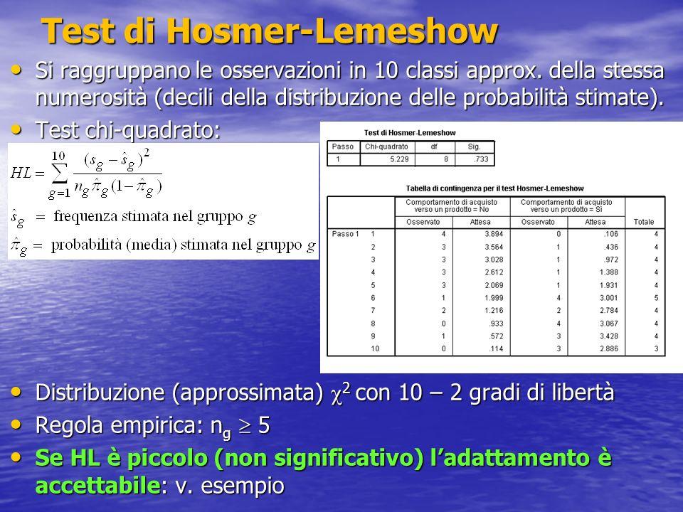 Test di Hosmer-Lemeshow Si raggruppano le osservazioni in 10 classi approx. della stessa numerosità (decili della distribuzione delle probabilità stim