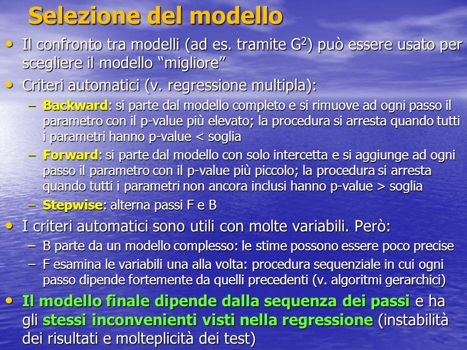 Selezione del modello - Esempio Modello R + S + R*S: procedura backward Modello R + S + R*S: procedura backward Il criterio porta a scegliere il modello (ragionevole) R + S Il criterio porta a scegliere il modello (ragionevole) R + S