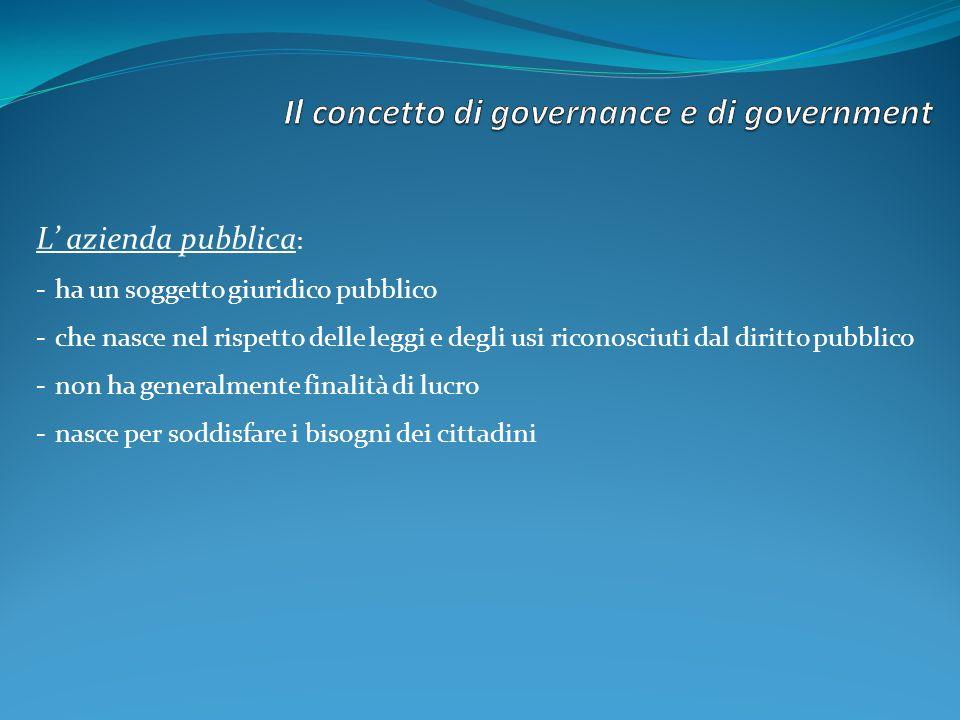 L azienda pubblica : -ha un soggetto giuridico pubblico -che nasce nel rispetto delle leggi e degli usi riconosciuti dal diritto pubblico -non ha gene