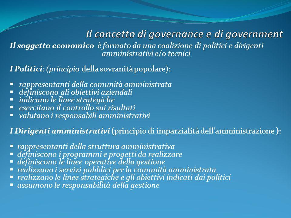 Il soggetto economico è formato da una coalizione di politici e dirigenti amministrativi e/o tecnici I Politici: (principio della sovranità popolare):