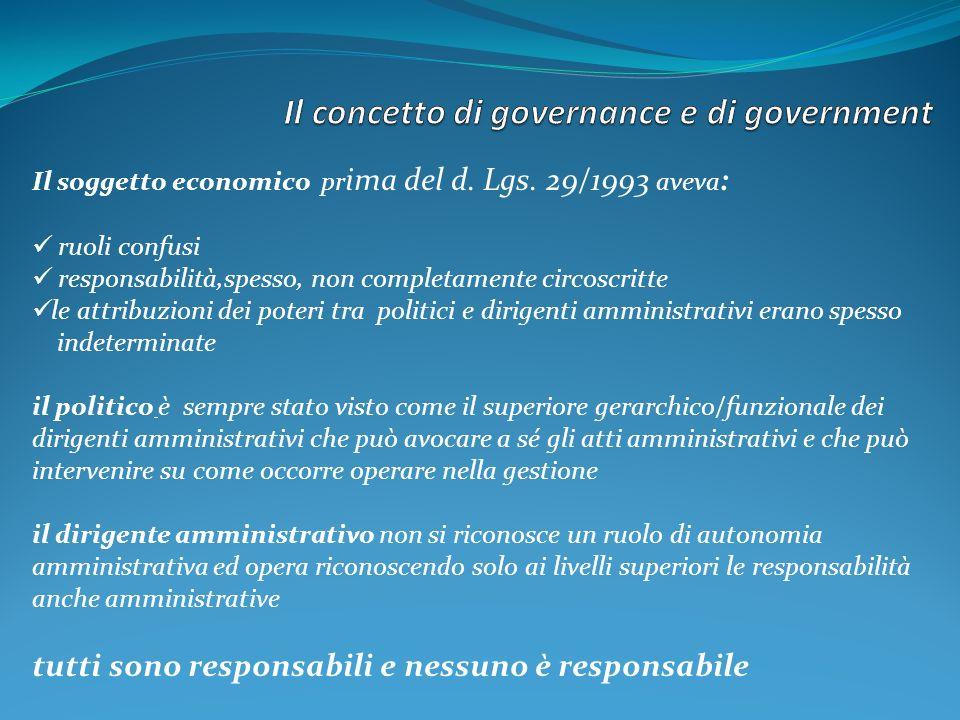 Il soggetto economico pr ima del d. Lgs. 29/1993 aveva : ruoli confusi responsabilità,spesso, non completamente circoscritte le attribuzioni dei poter