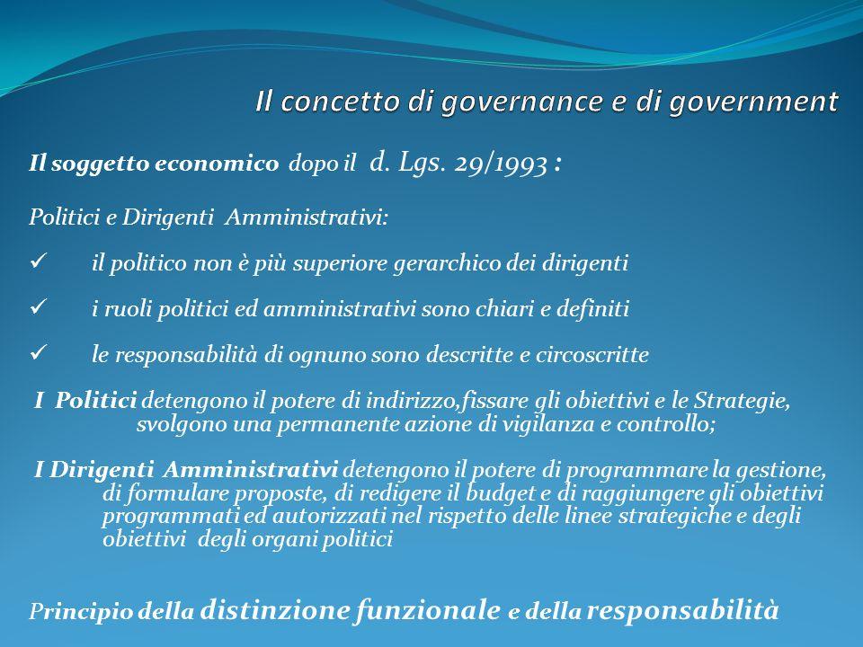 Il soggetto economico dopo il d. Lgs. 29/1993 : Politici e Dirigenti Amministrativi: il politico non è più superiore gerarchico dei dirigenti i ruoli