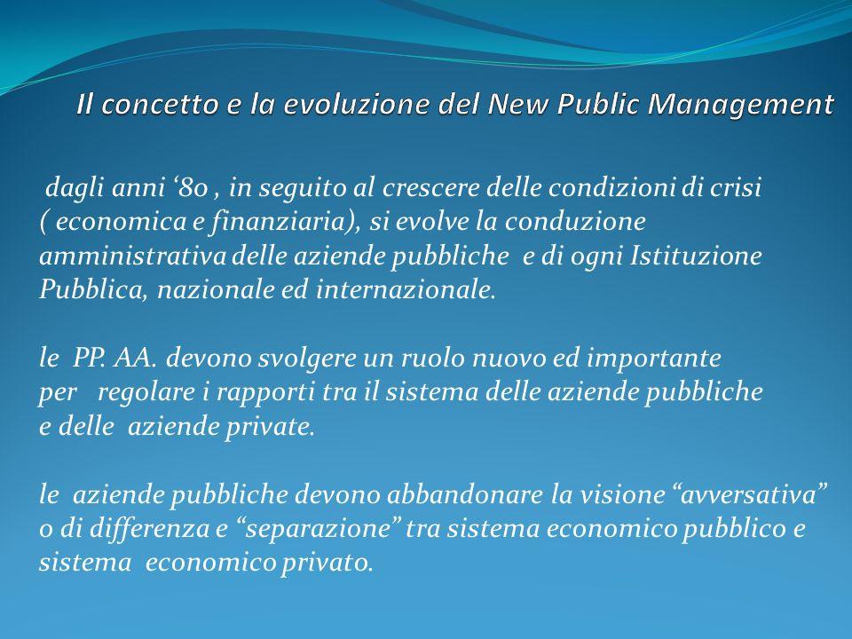 dagli anni 80, in seguito al crescere delle condizioni di crisi ( economica e finanziaria), si evolve la conduzione amministrativa delle aziende pubbl