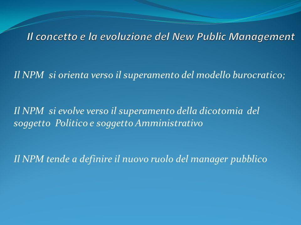 Il NPM si orienta verso il superamento del modello burocratico; Il NPM si evolve verso il superamento della dicotomia del soggetto Politico e soggetto