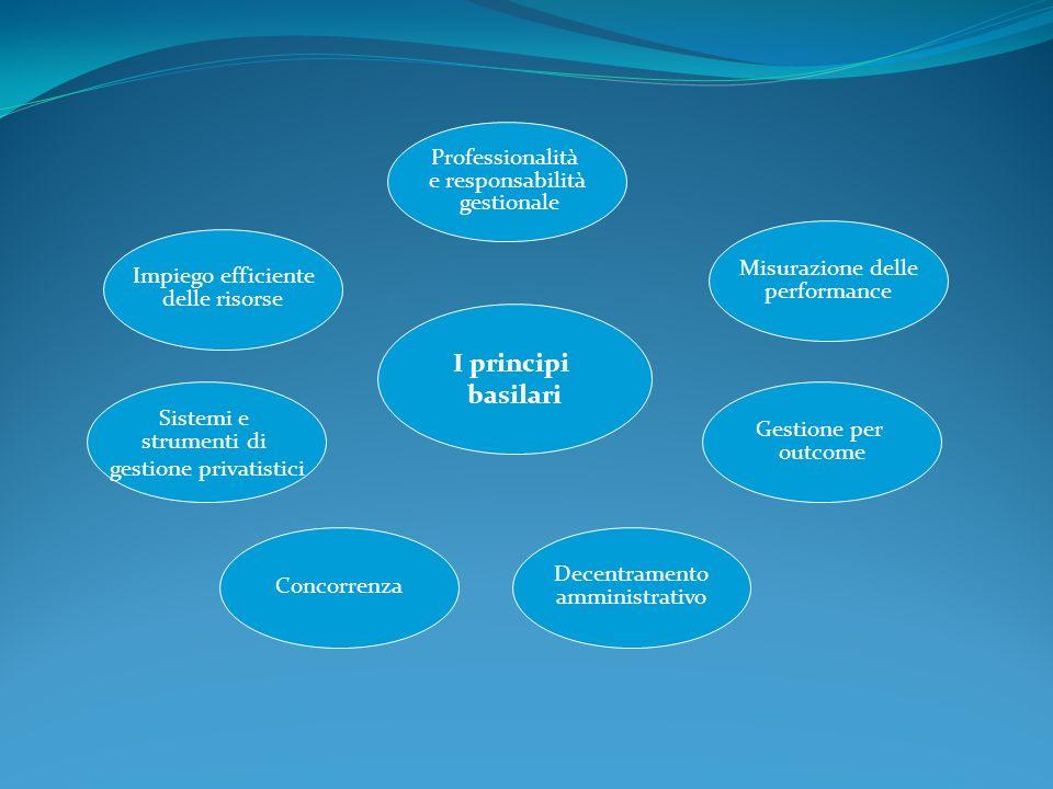 I principi basilari Professionalità e responsabilità gestionale Impiego efficiente delle risorse Sistemi e strumenti di gestione privatistici Concorre
