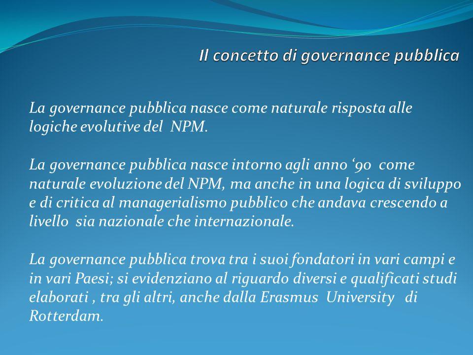 La governance pubblica nasce come naturale risposta alle logiche evolutive del NPM. La governance pubblica nasce intorno agli anno 90 come naturale ev