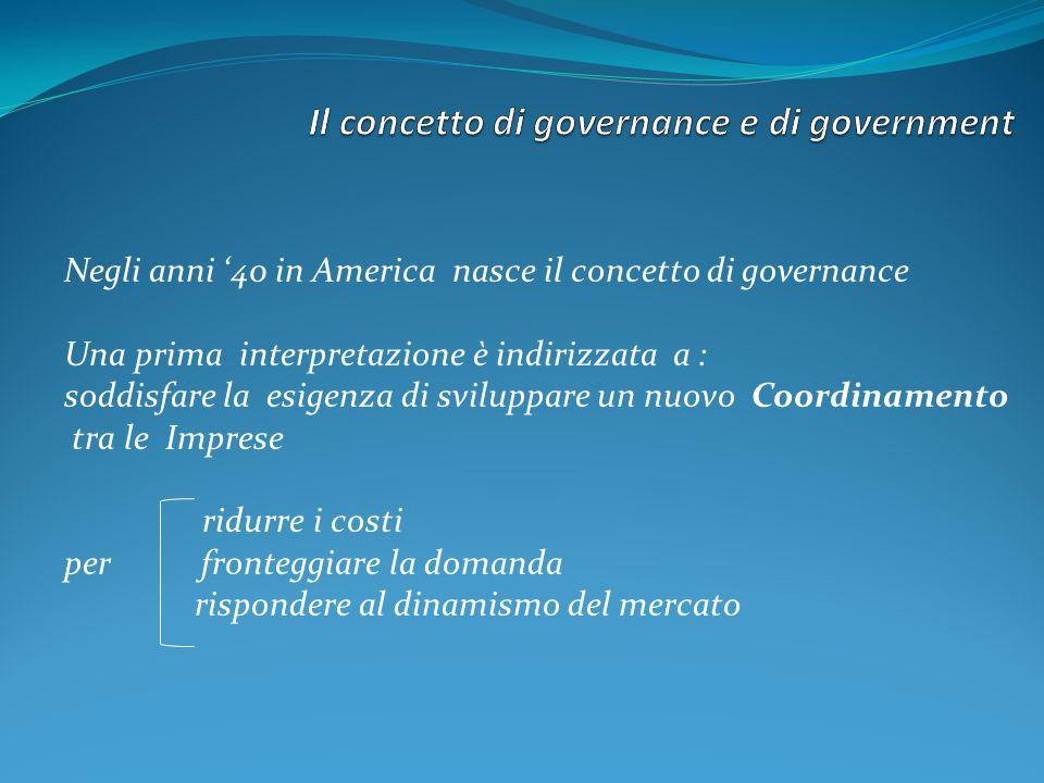 Negli anni 40 in America nasce il concetto di governance Una prima interpretazione è indirizzata a : soddisfare la esigenza di sviluppare un nuovo Coo