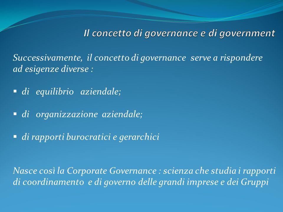 Successivamente, il concetto di governance serve a rispondere ad esigenze diverse : di equilibrio aziendale; di organizzazione aziendale; di rapporti