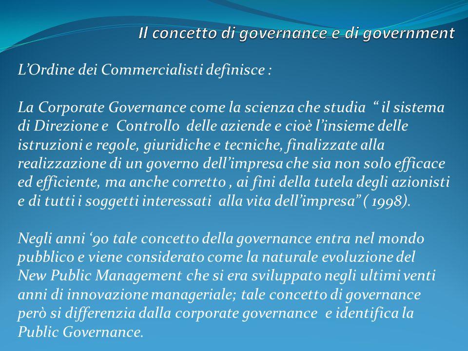 LOrdine dei Commercialisti definisce : La Corporate Governance come la scienza che studia il sistema di Direzione e Controllo delle aziende e cioè lin