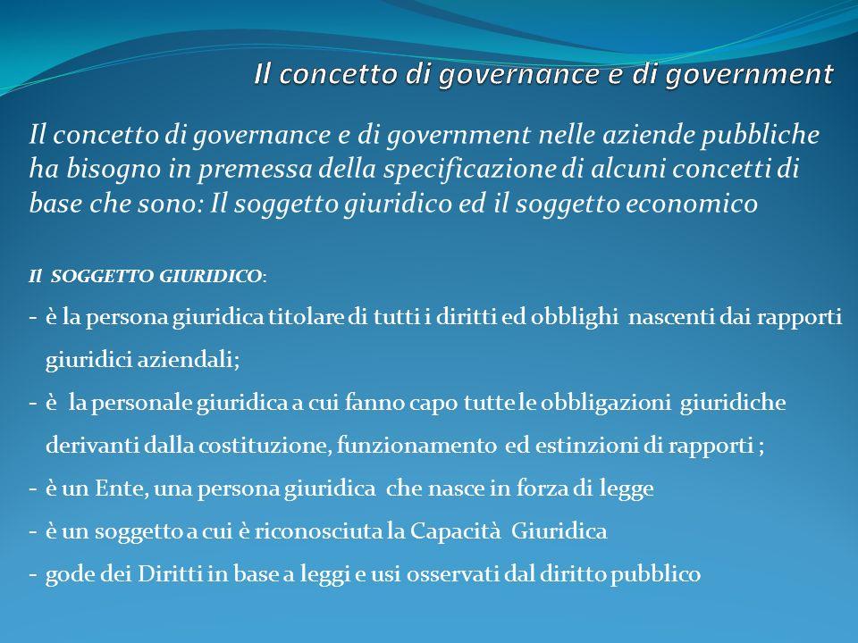 Il concetto di governance e di government nelle aziende pubbliche ha bisogno in premessa della specificazione di alcuni concetti di base che sono: Il