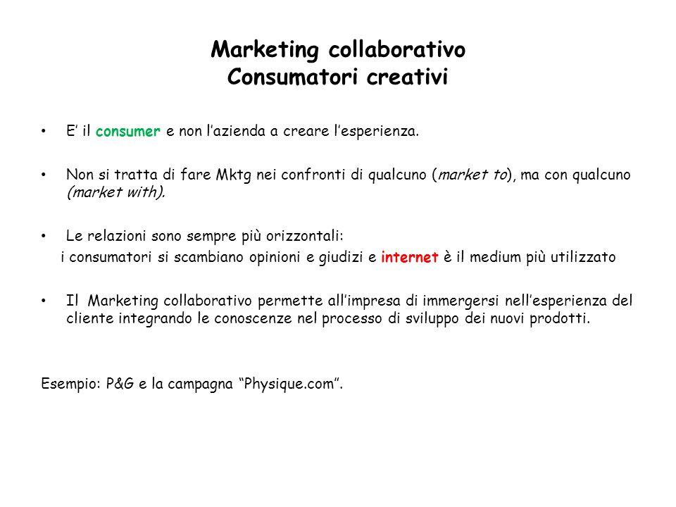 Marketing collaborativo Consumatori creativi E il consumer e non lazienda a creare lesperienza. Non si tratta di fare Mktg nei confronti di qualcuno (