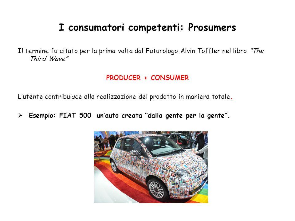 I consumatori competenti: Prosumers Il termine fu citato per la prima volta dal Futurologo Alvin Toffler nel libro The Third Wave PRODUCER + CONSUMER
