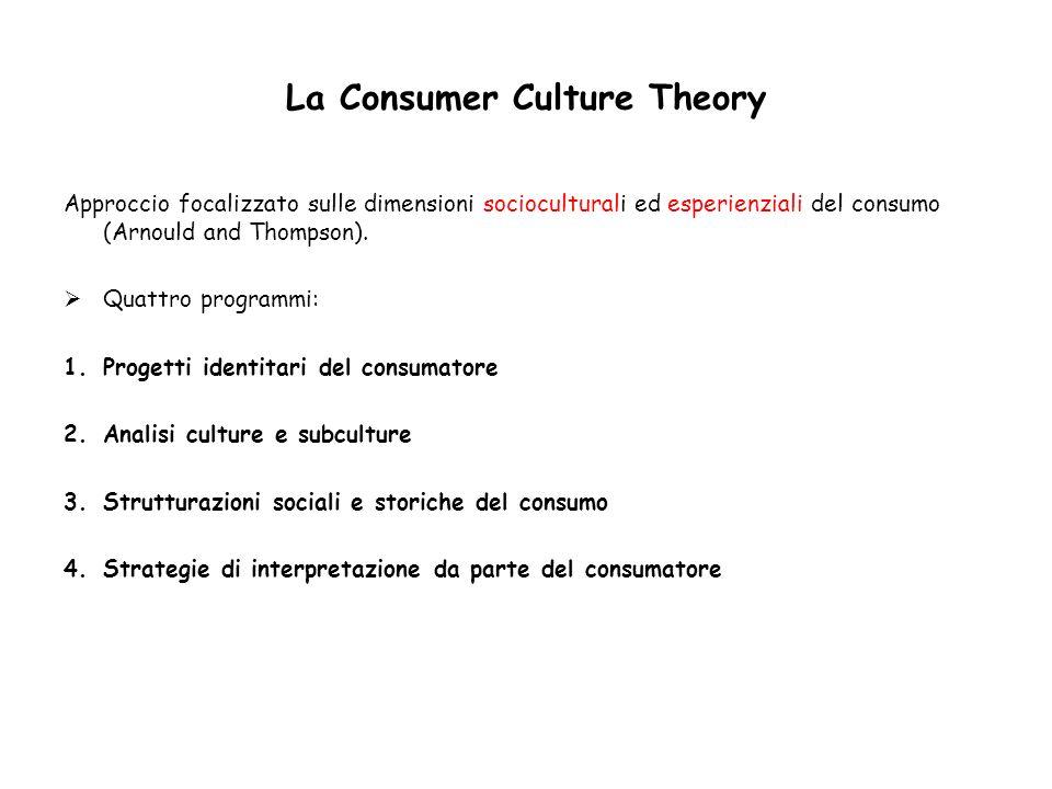 La Consumer Culture Theory Approccio focalizzato sulle dimensioni socioculturali ed esperienziali del consumo (Arnould and Thompson). Quattro programm