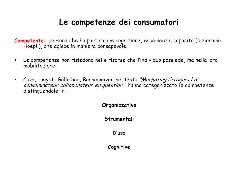 Le competenze dei consumatori Competente: persona che ha particolare cognizione, esperienza, capacità (dizionario Hoepli), che agisce in maniera consa