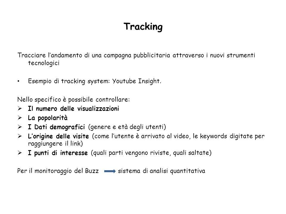 Tracking Tracciare landamento di una campagna pubblicitaria attraverso i nuovi strumenti tecnologici Esempio di tracking system: Youtube Insight. Nell