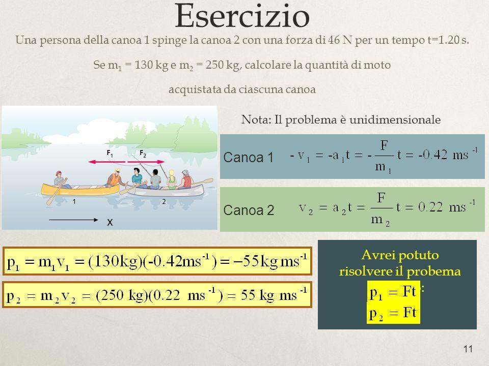 11 Canoa 1 Esercizio Una persona della canoa 1 spinge la canoa 2 con una forza di 46 N per un tempo t=1.20 s. Se m 1 = 130 kg e m 2 = 250 kg, calcolar