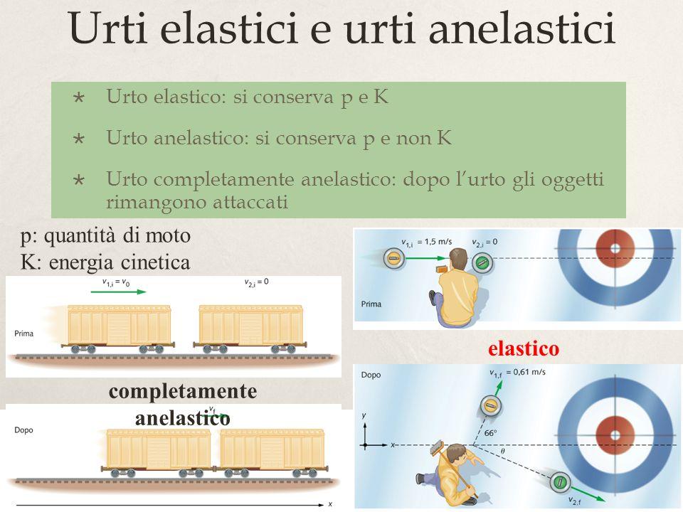 16 Urti elastici e urti anelastici Urto elastico: si conserva p e K Urto anelastico: si conserva p e non K Urto completamente anelastico: dopo lurto g