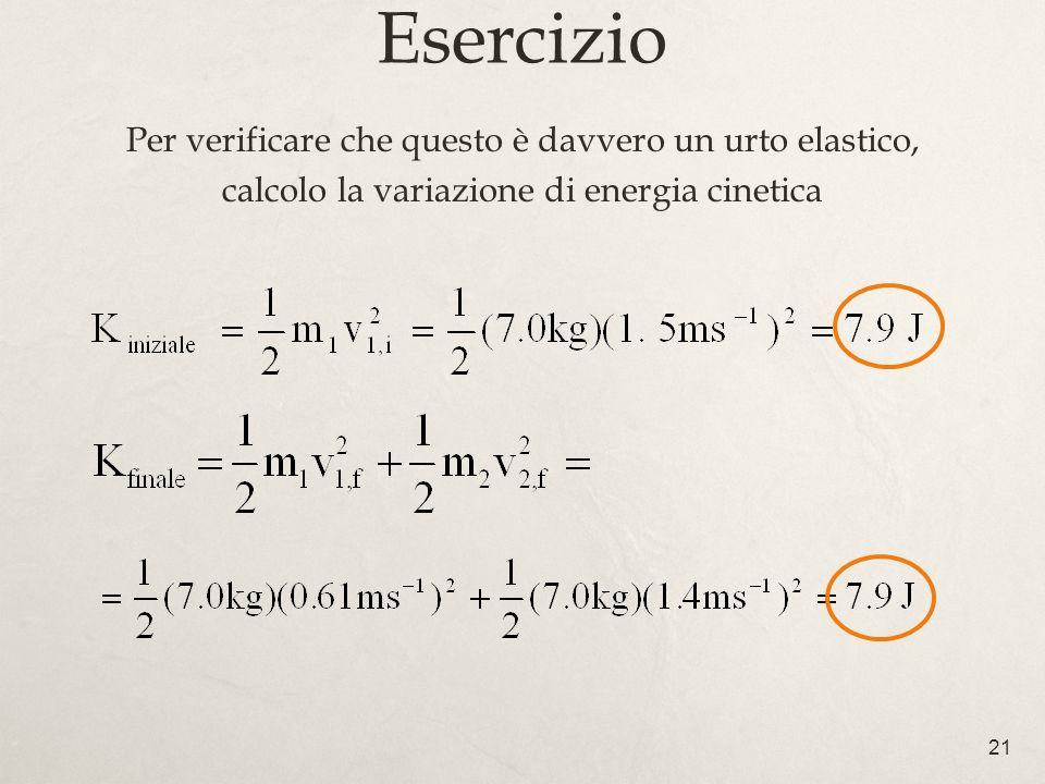 21 Esercizio Per verificare che questo è davvero un urto elastico, calcolo la variazione di energia cinetica