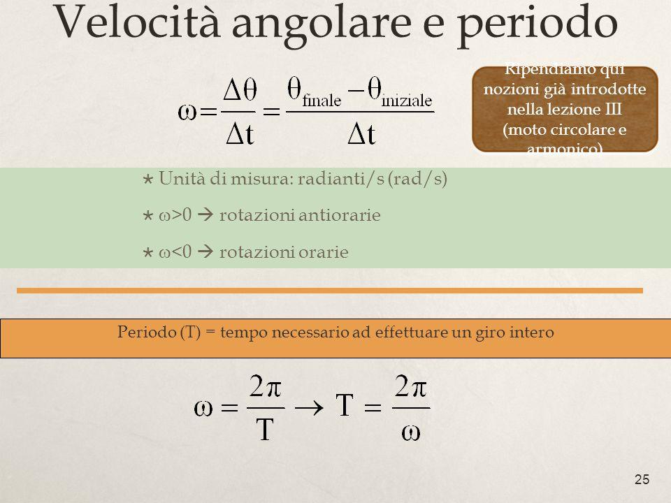 25 Velocità angolare e periodo Unità di misura: radianti/s (rad/s) >0 rotazioni antiorarie <0 rotazioni orarie Periodo (T) = tempo necessario ad effettuare un giro intero Ripendiamo qui nozioni già introdotte nella lezione III (moto circolare e armonico)