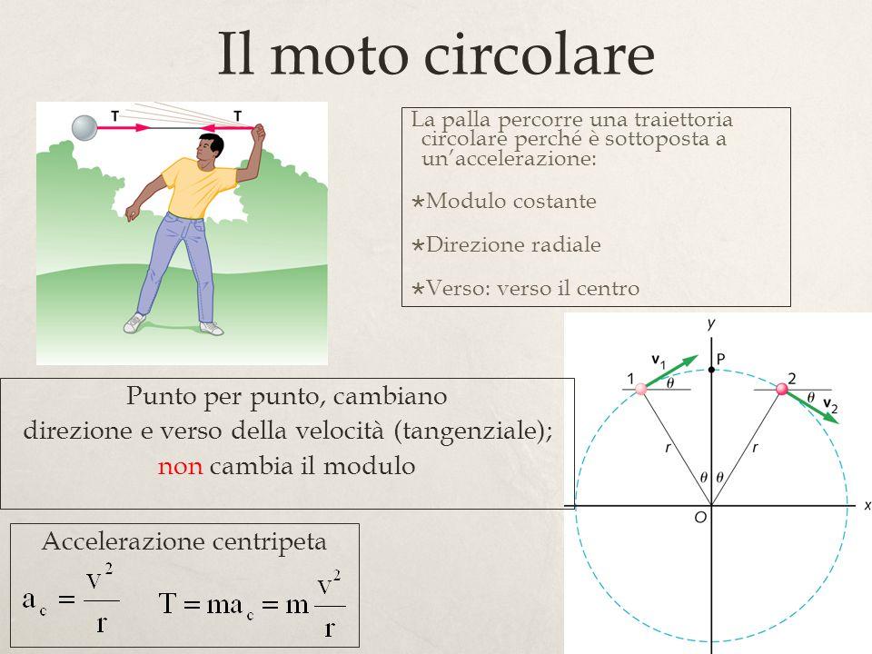30 Il moto circolare La palla percorre una traiettoria circolare perché è sottoposta a unaccelerazione: Modulo costante Direzione radiale Verso: verso