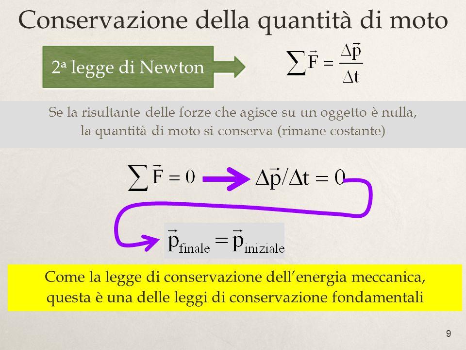 9 Conservazione della quantità di moto Se la risultante delle forze che agisce su un oggetto è nulla, la quantità di moto si conserva (rimane costante