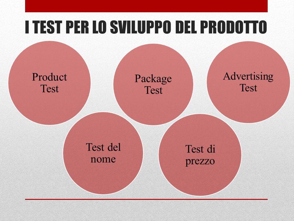 I TEST PER LO SVILUPPO DEL PRODOTTO Product Test Test del nome Package Test Test di prezzo Advertising Test