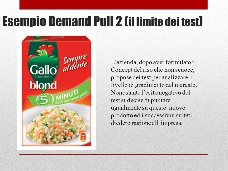 Esempio Demand Pull 2 ( il limite dei test ) Lazienda, dopo aver formulato il Concept del riso che non scuoce, propose dei test per analizzare il livello di gradimento del mercato.