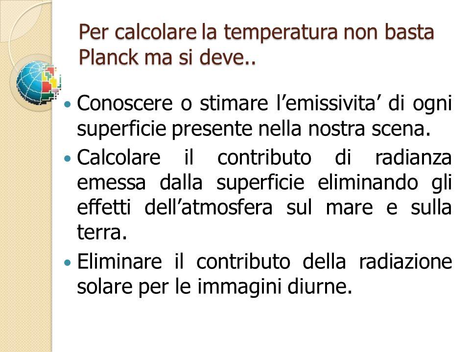 Per calcolare la temperatura non basta Planck ma si deve.. Conoscere o stimare lemissivita di ogni superficie presente nella nostra scena. Calcolare i