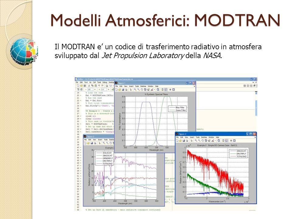 Modelli Atmosferici: MODTRAN Il MODTRAN e un codice di trasferimento radiativo in atmosfera sviluppato dal Jet Propulsion Laboratory della NASA.
