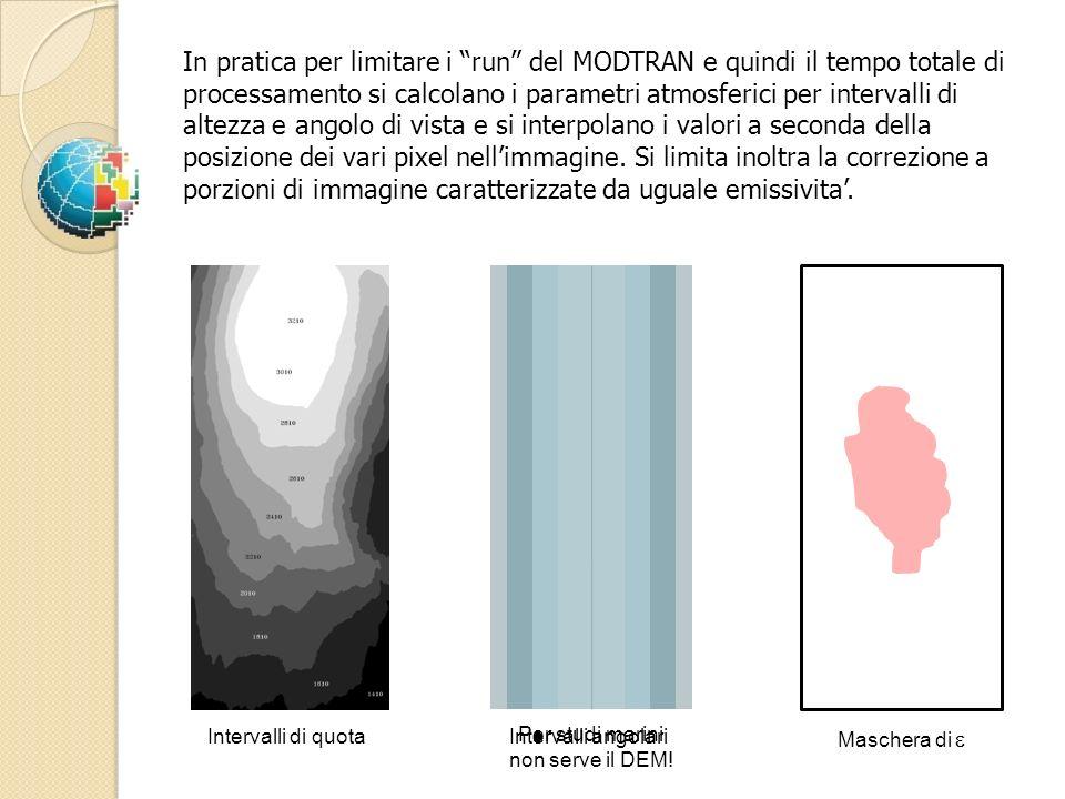In pratica per limitare i run del MODTRAN e quindi il tempo totale di processamento si calcolano i parametri atmosferici per intervalli di altezza e a