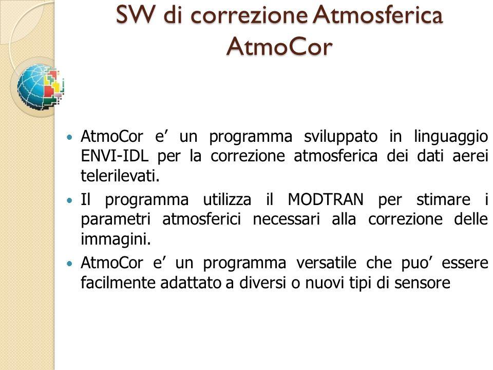 SW di correzione Atmosferica AtmoCor AtmoCor e un programma sviluppato in linguaggio ENVI-IDL per la correzione atmosferica dei dati aerei telerilevat