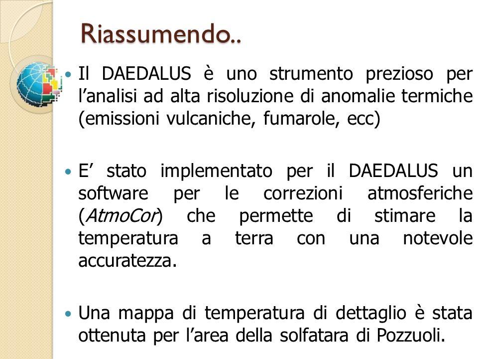Riassumendo.. Il DAEDALUS è uno strumento prezioso per lanalisi ad alta risoluzione di anomalie termiche (emissioni vulcaniche, fumarole, ecc) E stato