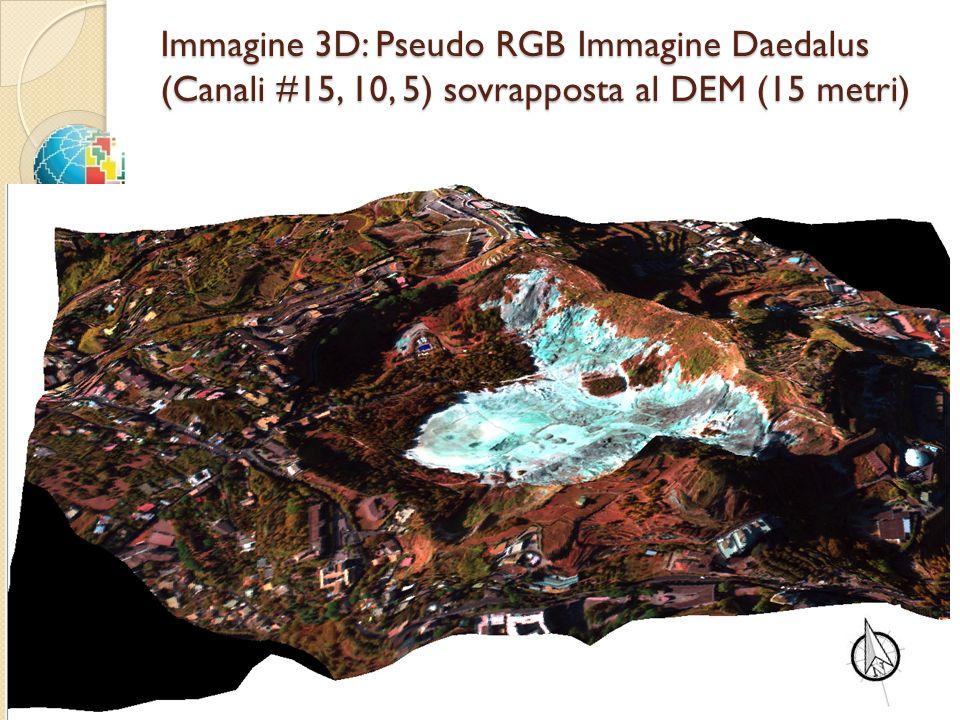 Immagine 3D: Pseudo RGB Immagine Daedalus (Canali #15, 10, 5) sovrapposta al DEM (15 metri)