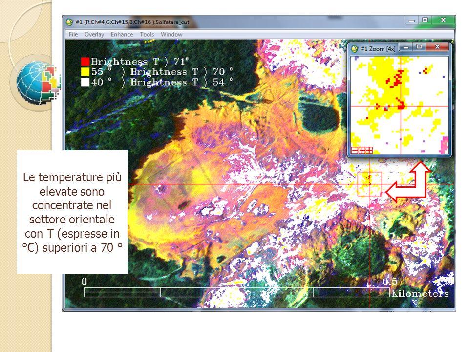 Le temperature più elevate sono concentrate nel settore orientale con T (espresse in °C) superiori a 70 °