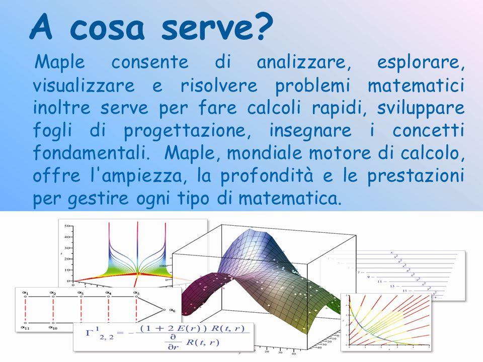 A cosa serve? Maple consente di analizzare, esplorare, visualizzare e risolvere problemi matematici inoltre serve per fare calcoli rapidi, sviluppare