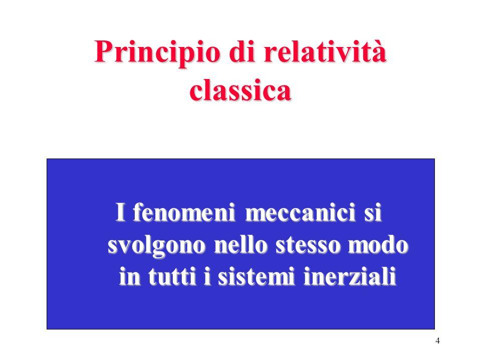 3 E possibile interpretare la precedente osservazione affermando che la misura di una forza è un invariante tra s ss sistemi inerziali. Generalizzando