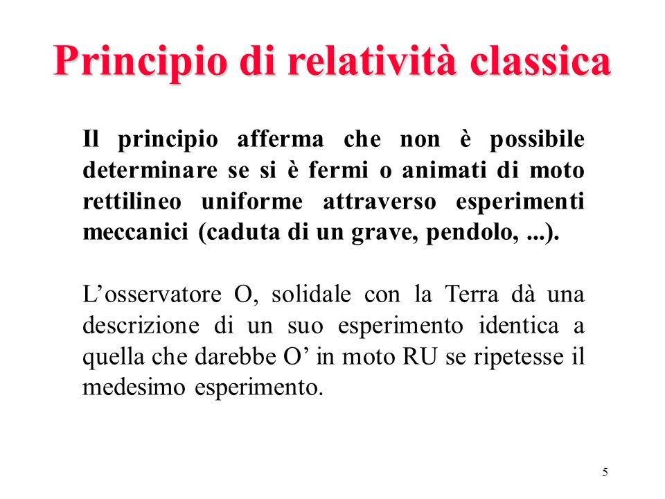 4 Principio di relatività classica I fenomeni meccanici si svolgono nello stesso modo in tutti i sistemi inerziali