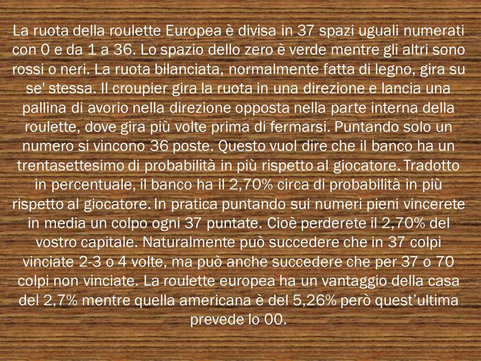 La ruota della roulette Europea è divisa in 37 spazi uguali numerati con 0 e da 1 a 36. Lo spazio dello zero è verde mentre gli altri sono rossi o ner