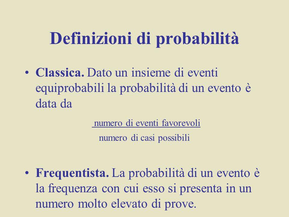 Definizioni di probabilità Classica. Dato un insieme di eventi equiprobabili la probabilità di un evento è data da numero di eventi favorevoli numero