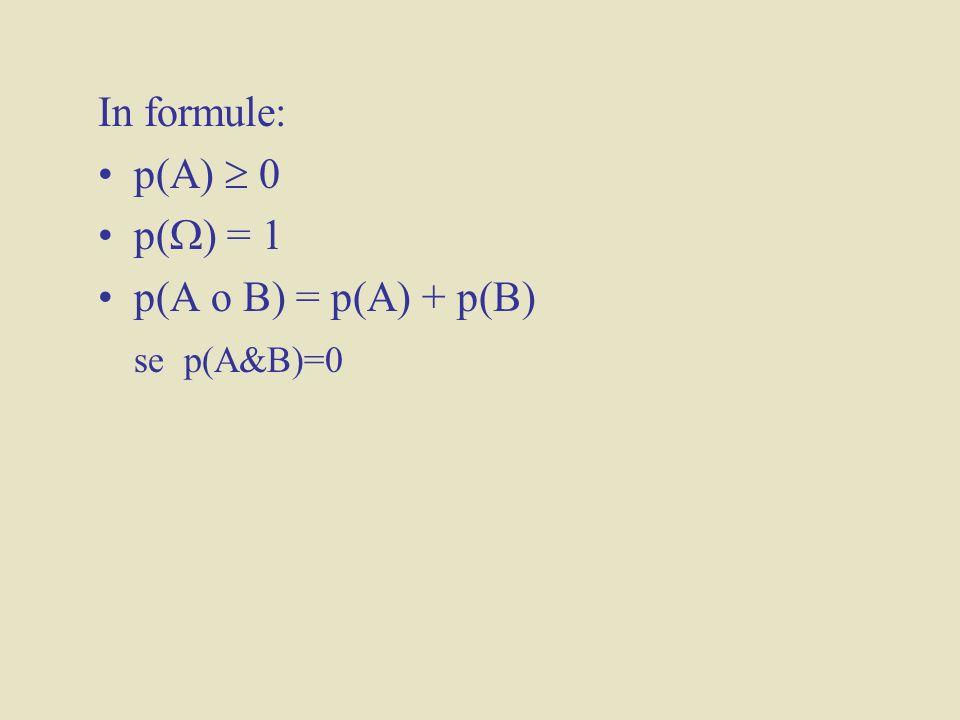 In formule: p(A) 0 p( ) = 1 p(A o B) = p(A) + p(B) se p(A&B)=0
